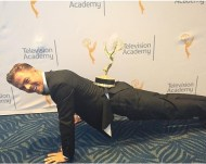 """WORK! Derek Hough doing push-ups with his #EmmysArts statue for Choreography. #DWTS"" - September 12, 2015 Courtesy: televisionacad IG"